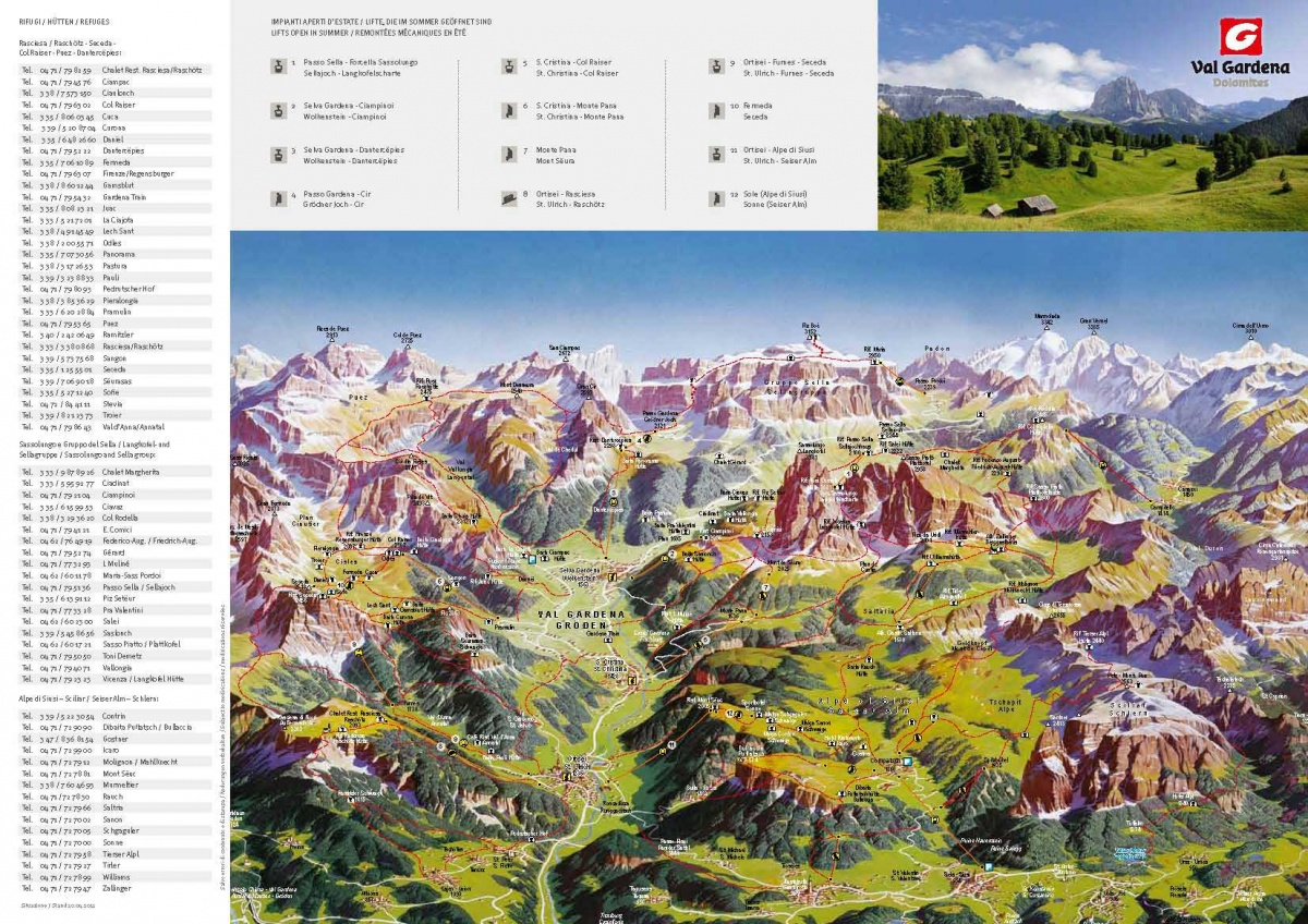 Hiking map of Val Gardena